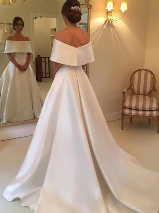 A-Line Off the Shoulder Simple Wedding Dress