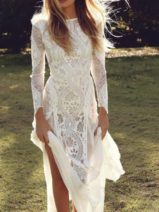 Sheath Backless Long Sleeves Lace Beach Wedding Dress