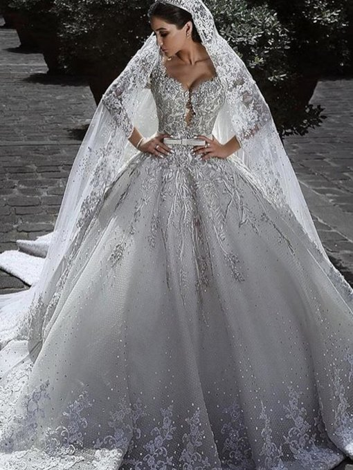 Long Sleeve Beading Appliques Ball Gown Luxurious Wedding Dress