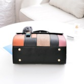Color Block Patchwork PU Rivet Tote Bags