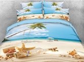 Starfish and Drift Bottle Printed Cotton 4-Piece 3D Bedding Sets/Duvet Covers