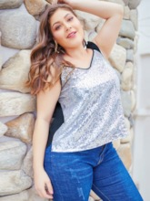 Sequins Backless Plus Size Women's Tank Top