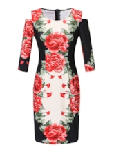 Round Neck Three-Quarter Sleeve Print Floral Women's Bodycon Dress