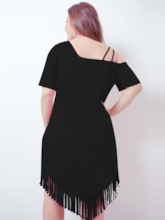 Plus Size Asymmetric Short Sleeve Tassel Women's Day Dress