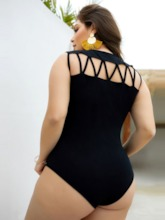 Plus Size Hollow Sexy Plain Shorts Skinny Women's Rompers