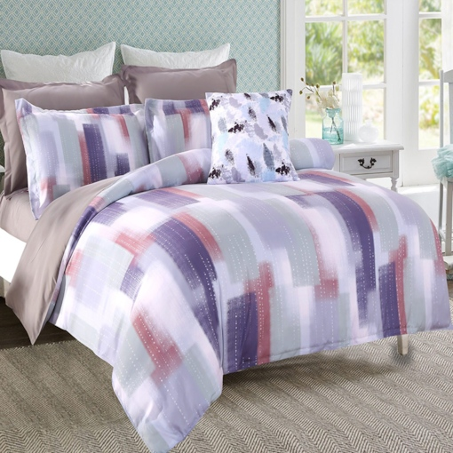 Abstract Scrawl Grey and Purple Stripes Pattern 4-Piece Polyester Bedding Sets/Duvet Cover