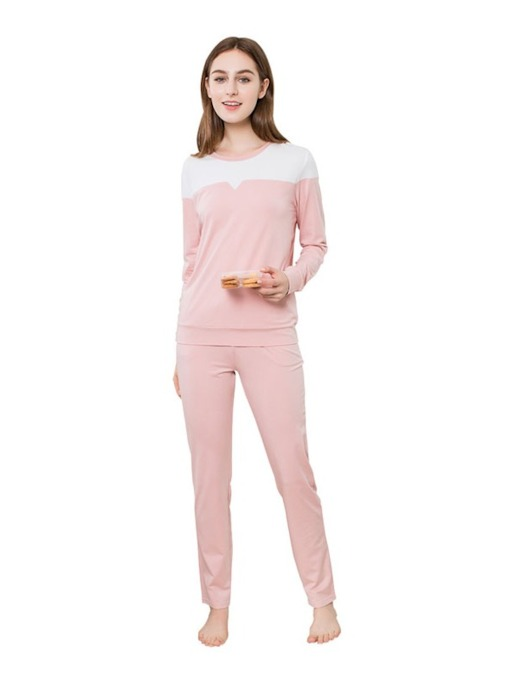 Color Block Simple Round Neck Women's Loungewear