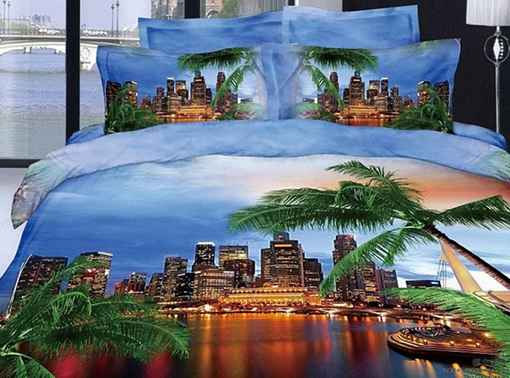 Modern City and Palm Tree Reactive Printing Blue Color 4 Piece Bedding Sets/Duvet Cover