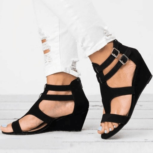 Wedge Heel Zipper Open Toe Heel Covering Women's Sandals