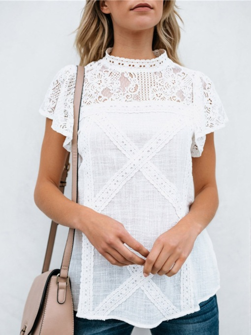 Stand Collar Lace Hollow Women's T-Shirt