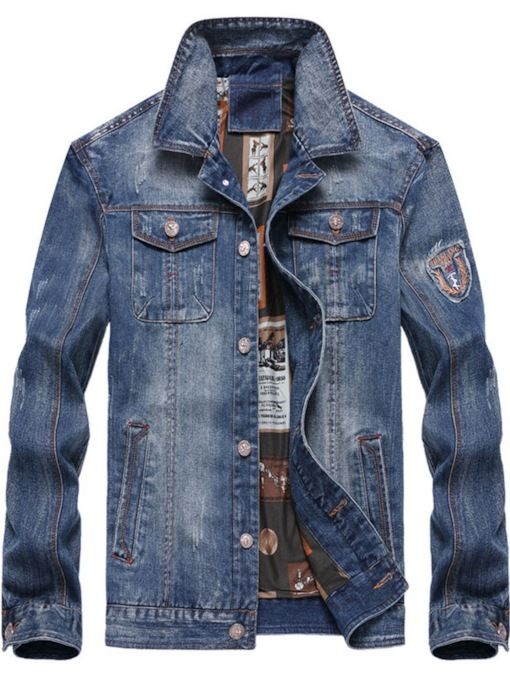Plain Lapel Pocket Single-Breasted Men's Denim Jacket