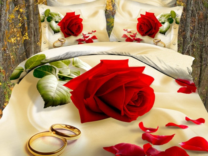 Red Rose with Golden Rings Printed 3D Cotton 4-Piece Bedding Sets /Duvet Covers