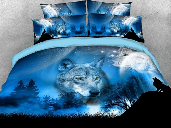 Wild Wolf and Natural Scenery Printed 4-Piece 3D Bedding Sets/Duvet Covers