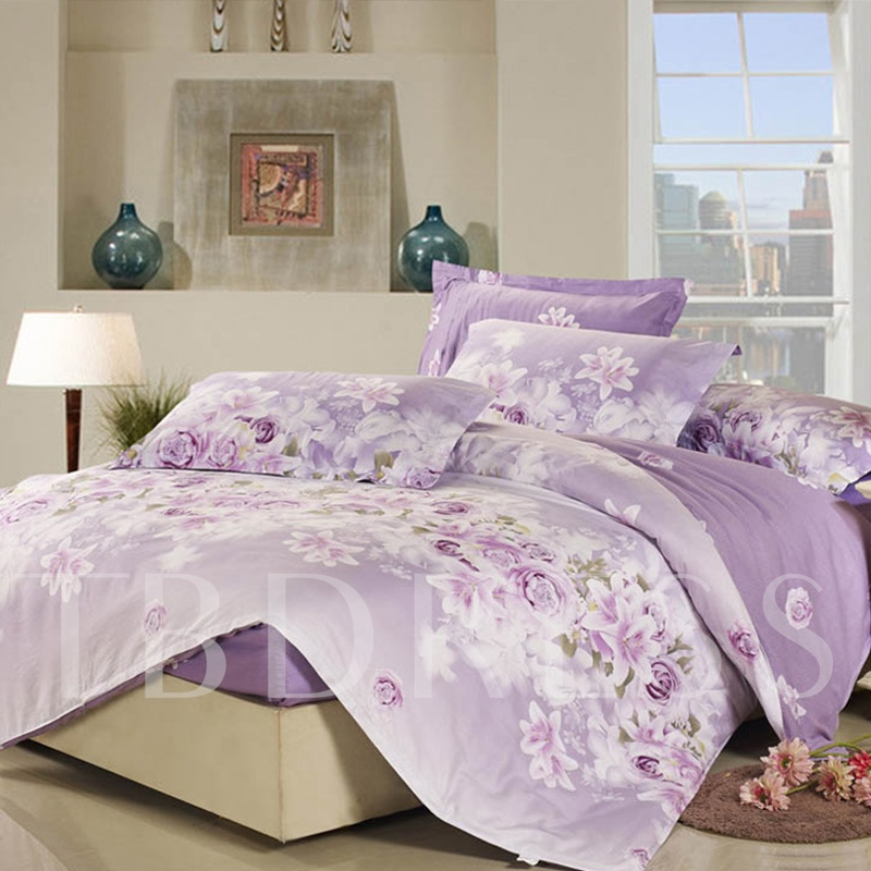 Purple Rose and Lily Pattern Polyester 4-Piece Bedding Sets/Duvet Covers