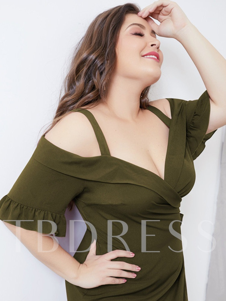 Plus Size Half Sleeve Off Shoulder Women's Day Dress