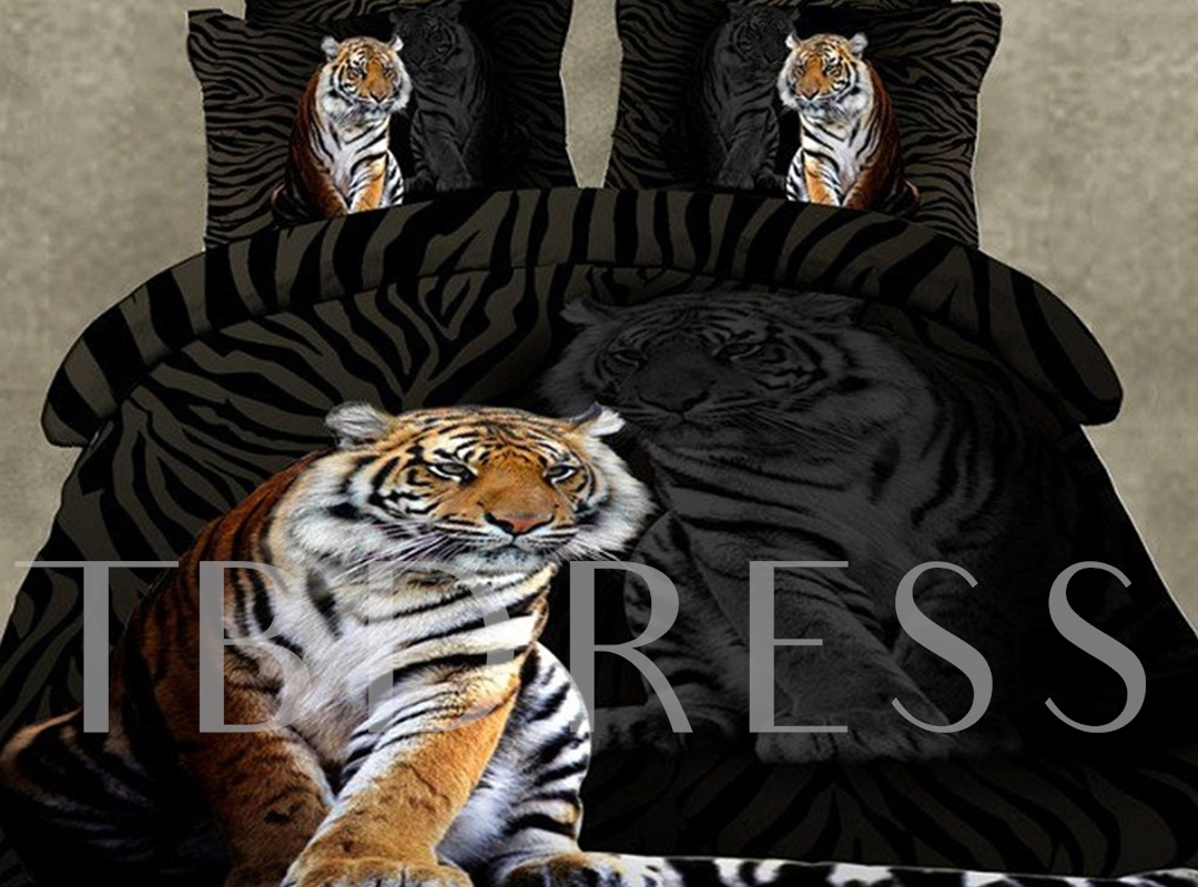 Skincare Tiger Print 4-Piece Polyester 3D Bedding Sets/Duvet Covers