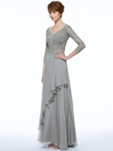 3/4 Length Sleeve Tiered Appliques Mother of the Bride Dress