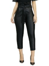 Lace-Up Slim Plain Mid-Calf Women's Casual Pants