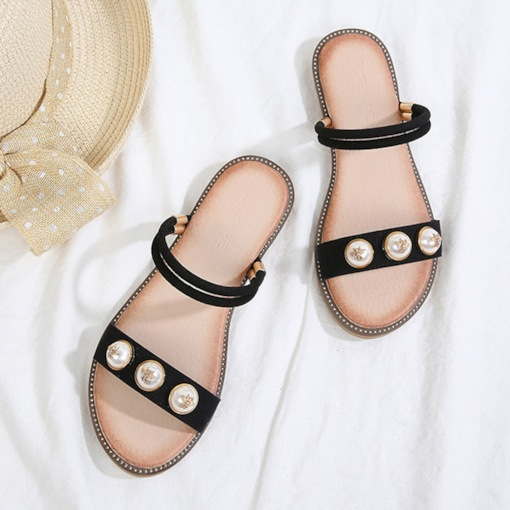 Beads Open Toe Block Heel Ankle Strap Slip-On Women's Sandals