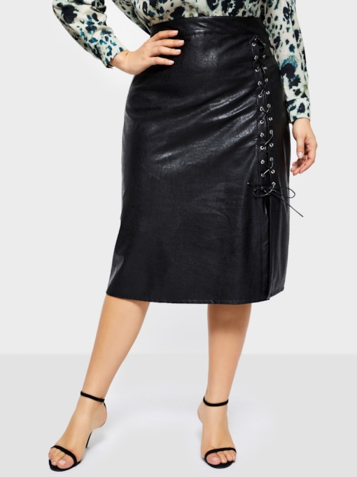 Plus Size Lace-Up Mid-Calf Plain Bodycon Elegant Women's Skirt