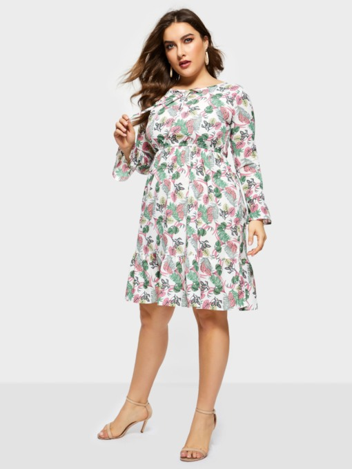 Print Long Sleeve A-Line Women's Long Sleeve Dress