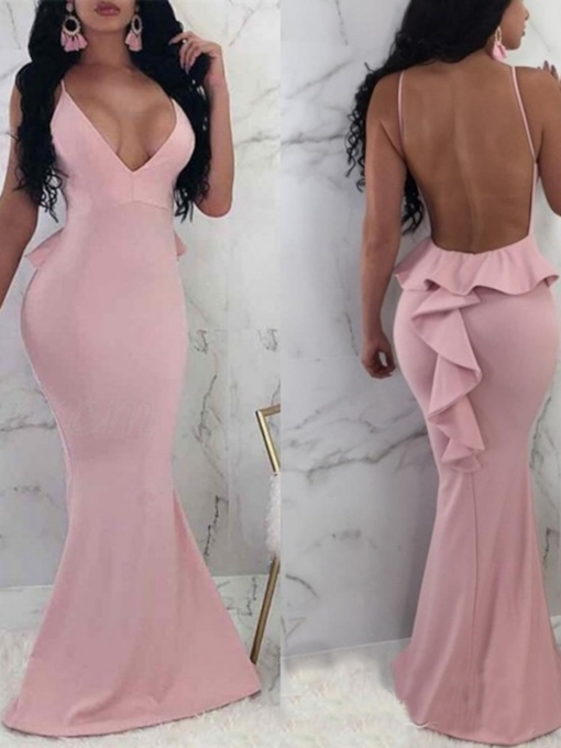 Ruffles V-Neck Sleeveless Trumpet Evening Dress 2019