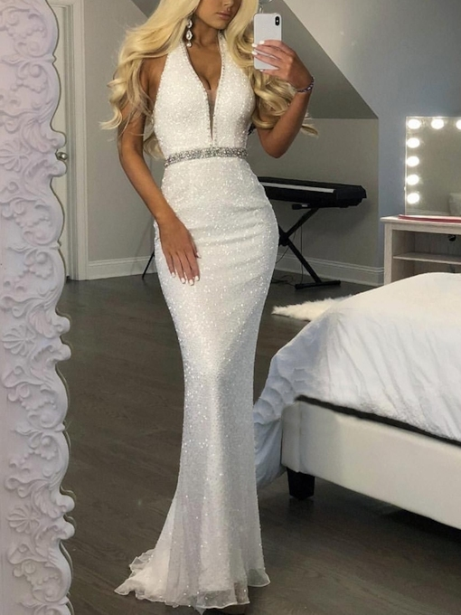 Halter Beading Ivory Sequins Evening Dress 2019