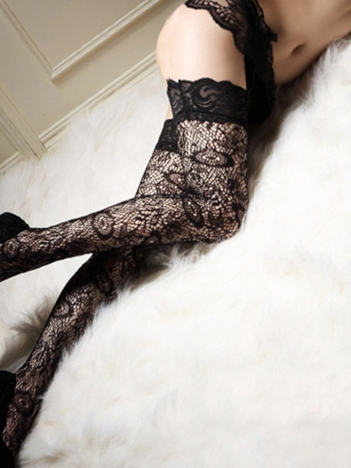 Plain Lace Thigh-High Stockings