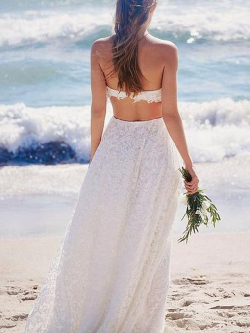 Strapless Lace Beach Wedding Dress 2019