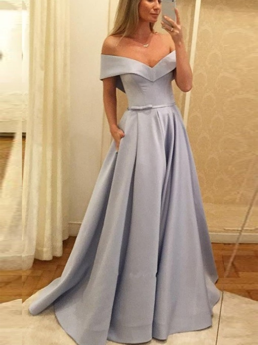 Off-The-Shoulder Floor-Length A-Line Evening Dress 2019