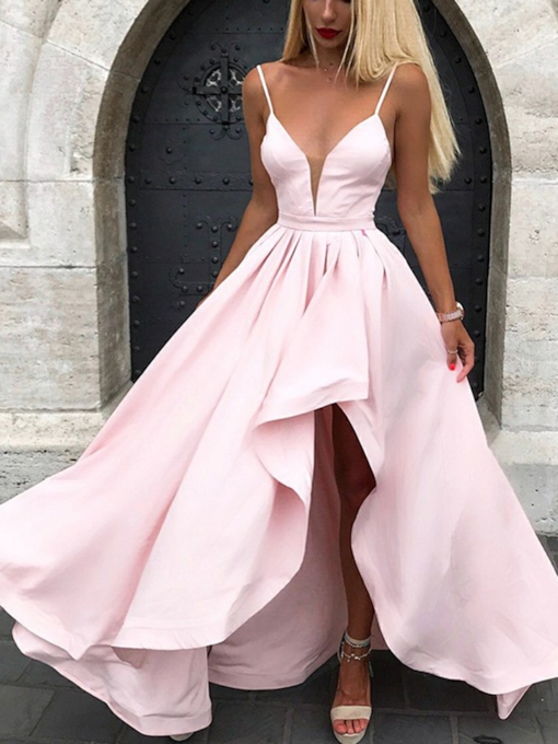 Spaghetti Straps Split-Front Bridesmaid Dress 2019