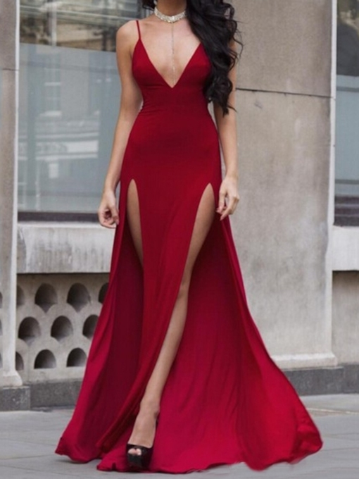 Spaghetti Straps Split-Front Sleeveless A-Line Evening Dress 2019