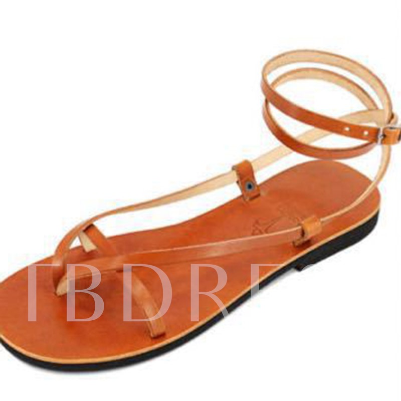 Thong Block Heel Buckle Ankle Strap Casual Women's Sandals
