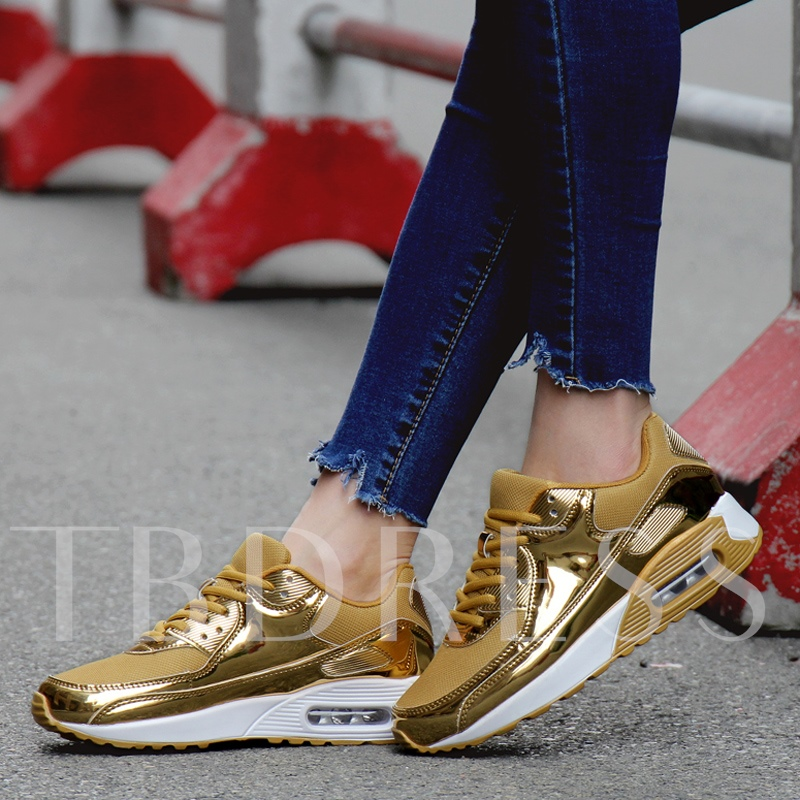 Metallic Lace-Up Round Toe Air Cushion Women's Running Shoes