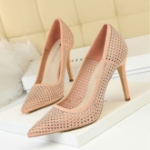 Mesh Hollow Sexy Stiletto Heel Rhinestone Slip-On Pointed Toe Pumps