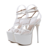Mesh Hollow Sexy Buckle Strappy Stiletto Heel Open Toe Sandals