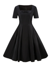 Bowknot Short Sleeve Square Neck Pullover Women's Day Dress