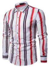 Print Casual Stripe Lapel Men's Shirt