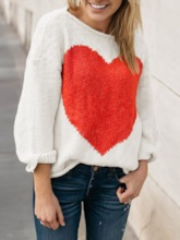 Loose Heart Print Pullover Women's Sweater