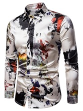 Print Lapel Slim Casual Single-Breasted Men's Shirt