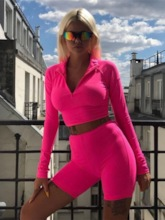 Women's Fluorescent Color Slim Casual Suit Sports Two-Piece
