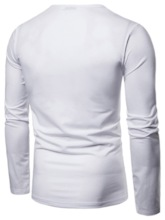 Pleated Plain Round Neck Casual Straight Men's T-shirt
