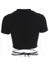 Solid Cotton Short Sleeve Exposed Navel Sexy Tops for Women