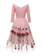 Embroidery Three-Quarter Sleeve Floral Women's Day Dress