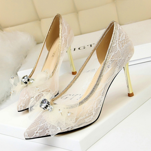 Rhinestone Slip-On Stiletto Heel Pointed Toe Wedding Shoes