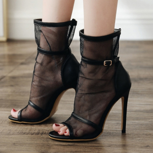 Mesh Hollow Patchwork Stiletto Heel Hasp Peep Toe Ankle Boots