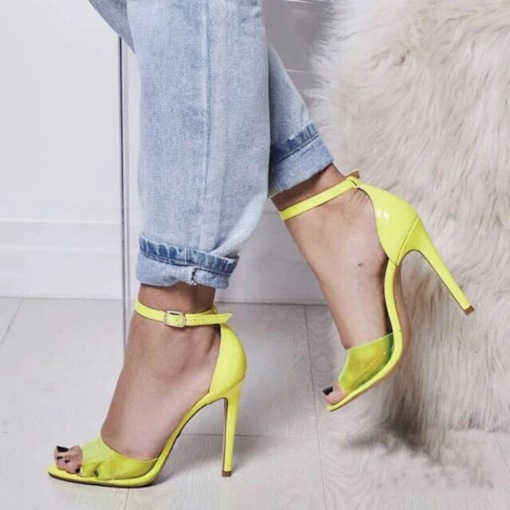 Neon Stiletto Heel Line-Style Buckle Peep Toe Heel Covering Sandals