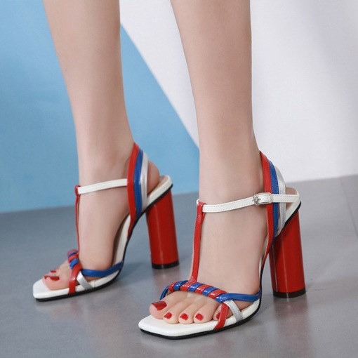 Open Toe Strappy T-Shaped Buckle Chunky Heel Color Block Sandals