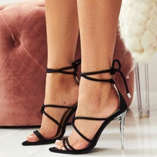 Lace-Up Heel Covering Stiletto Heel Open Toe Casual Sandals