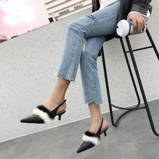 Pointed Toe Slingback Strap Buckle Stiletto Heel Color Block Sandals